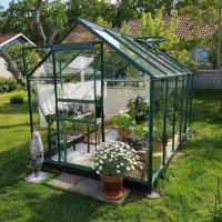 Drivhus Neptunus - Grønt 6,2 m² herdet glass