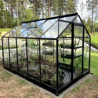 Drivhus Neptunus - Sort 6,2 m² herdet glass