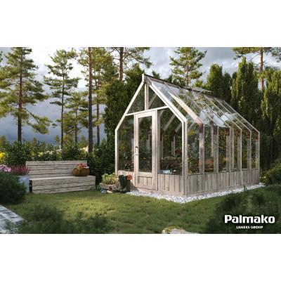 Drivhus Emilia med fundament 8,2 m² – Gråbehandlet tre - Herdet glas