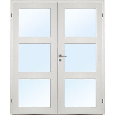 Ulvøya dobbel innerdør - 1-speil - 3 Glass - Massiv